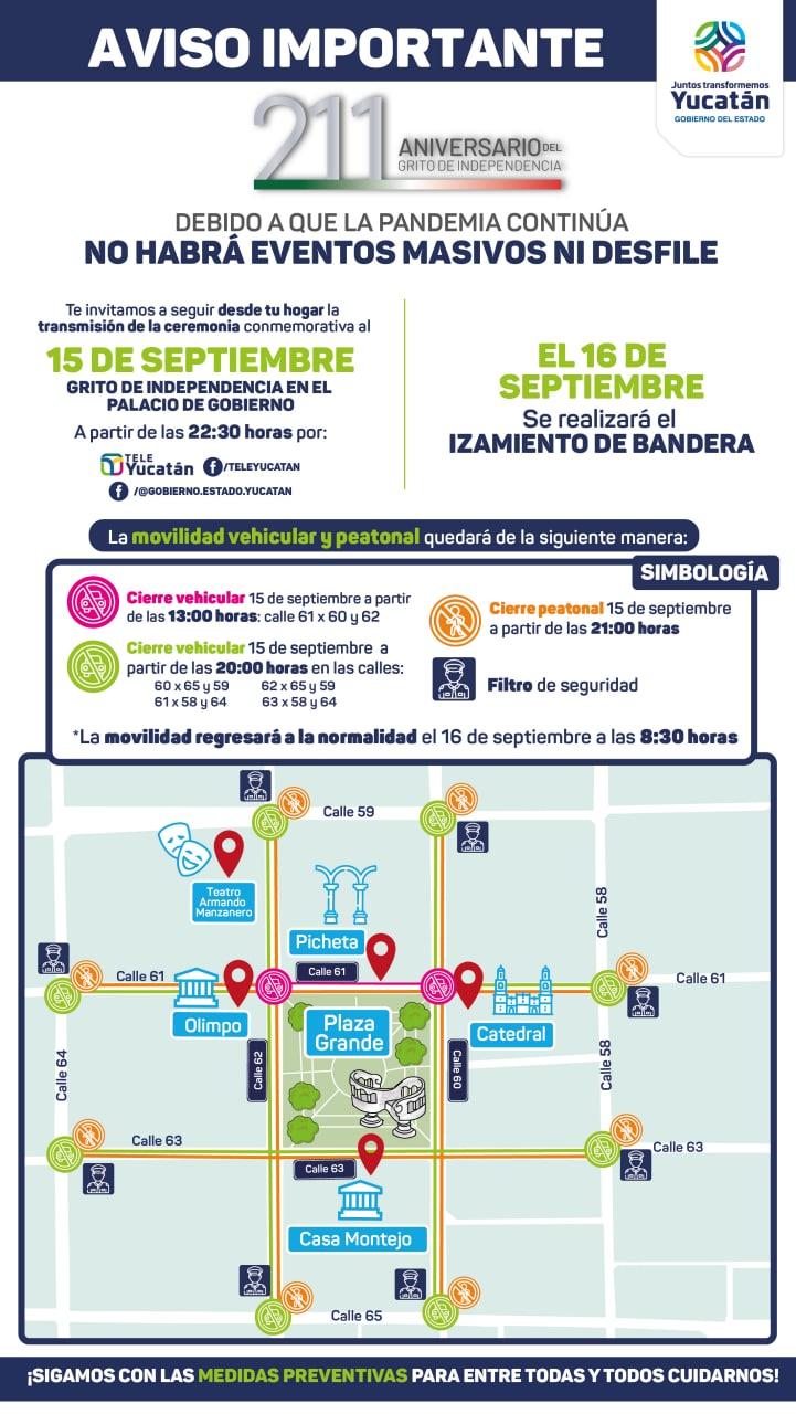 La ceremonia del Grito de Independencia se realizará la noche del miércoles 15 de septiembre sin público y se transmitirá por el canal TeleYucatán y en redes sociales.
